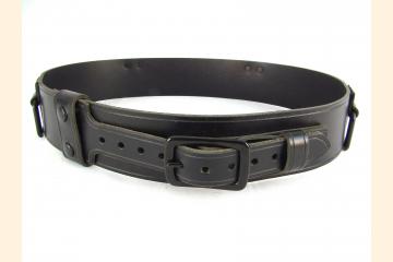Kilt Belt Black Leather Black Rectangle Add On's Front View
