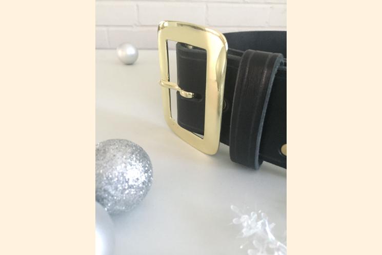 Santa Belt Pirate Belt Kilt Belt Black Leather Belt with Brass Buckle Right Side
