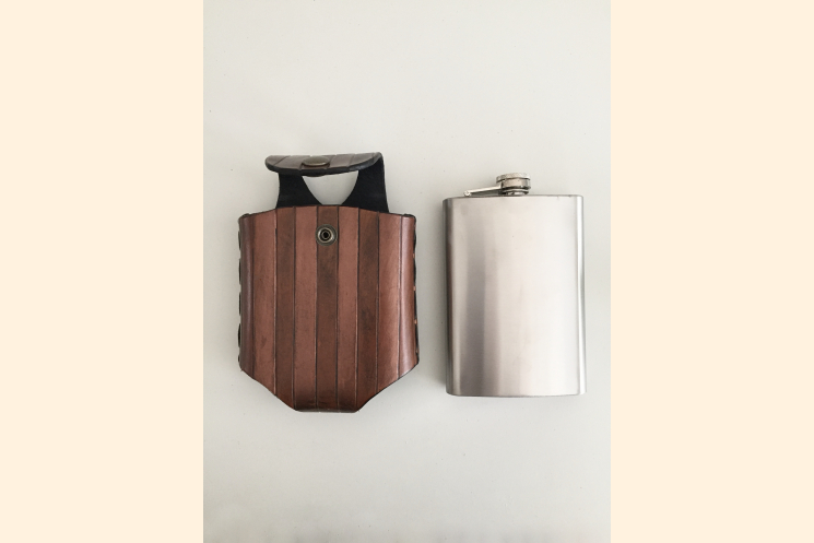 Steampunk Hip Flask Holder for Belt with Antique Brass Snap Closure