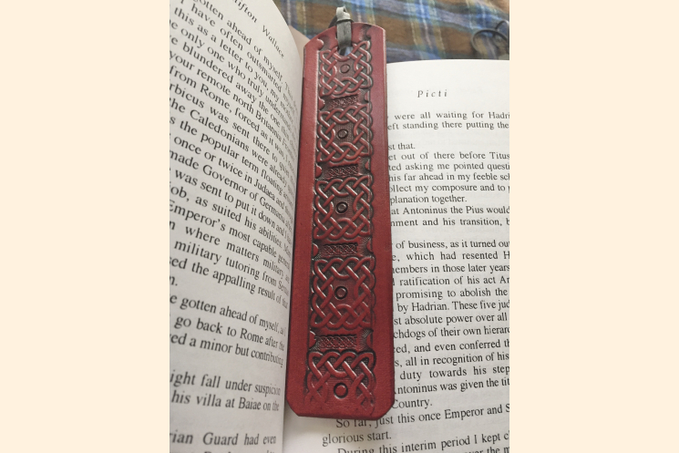 Celtic Bookmark, Red Leather
