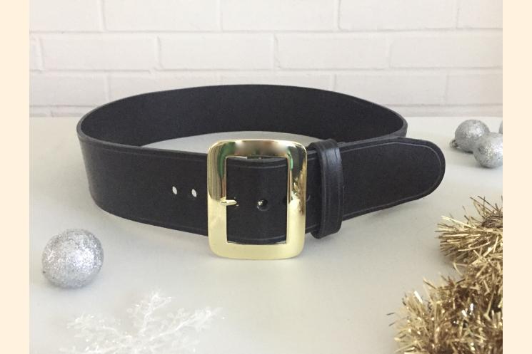 Santa Belt Pirate Belt Kilt Belt Black Leather Belt with Brass Buckle Left Side