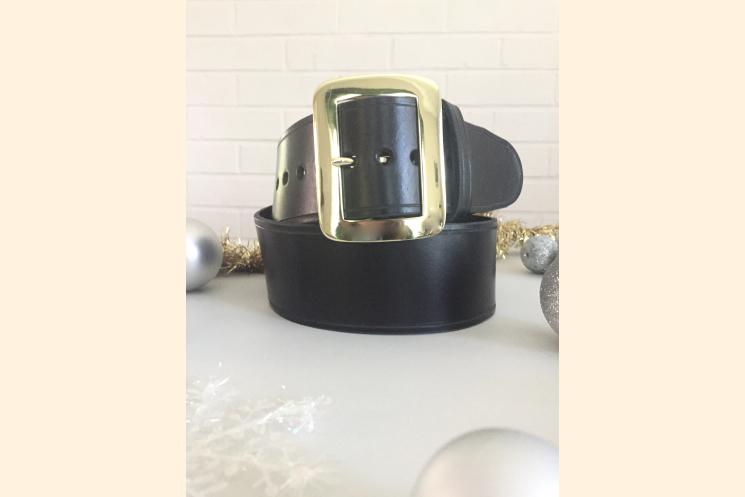 Santa Belt Pirate Belt Kilt Belt Black Leather Belt with Brass Buckle Back View