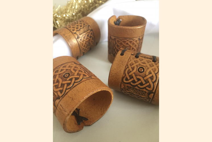 Celtic Knot Gold Leather Napkin Ring