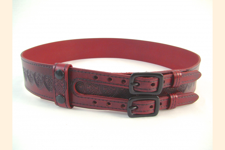 Kilt Belt Red Double Buckle Celtic Heart Knot Front View