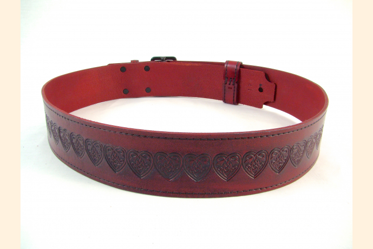 Kilt Belt Red Double Buckle Celtic Heart Knot Back View