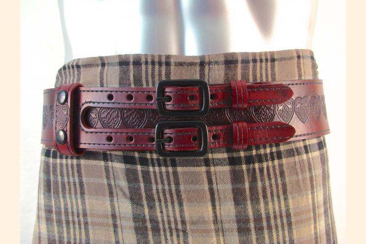 Kilt Belt Red Double Buckle Celtic Heart Knot Kilt View
