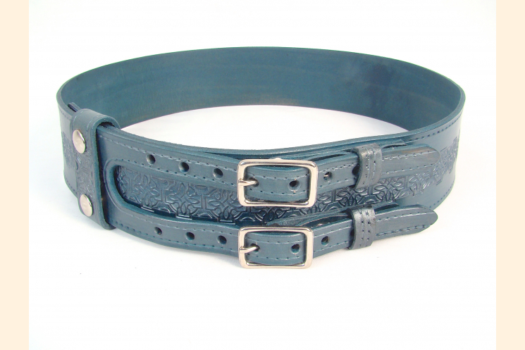 Kilt Belt Leather Blue Double Buckle with Round Celtic Cross Knot