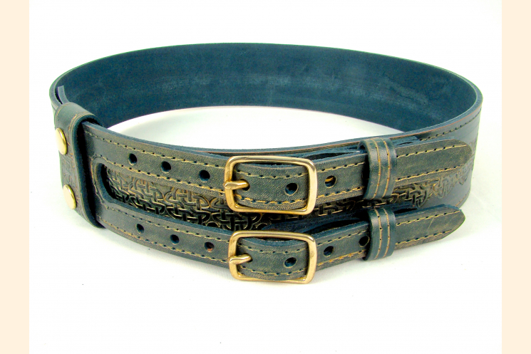 Kilt Belt Green Leather Double Buckle Front View