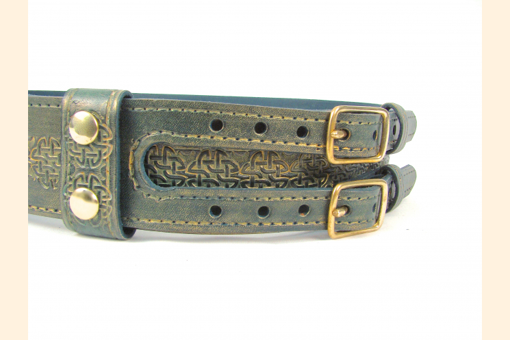 Kilt Belt Green Leather Double Buckle Left Side View