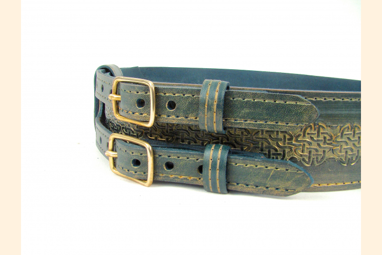 Kilt Belt Green Leather Double Buckle Right Side View