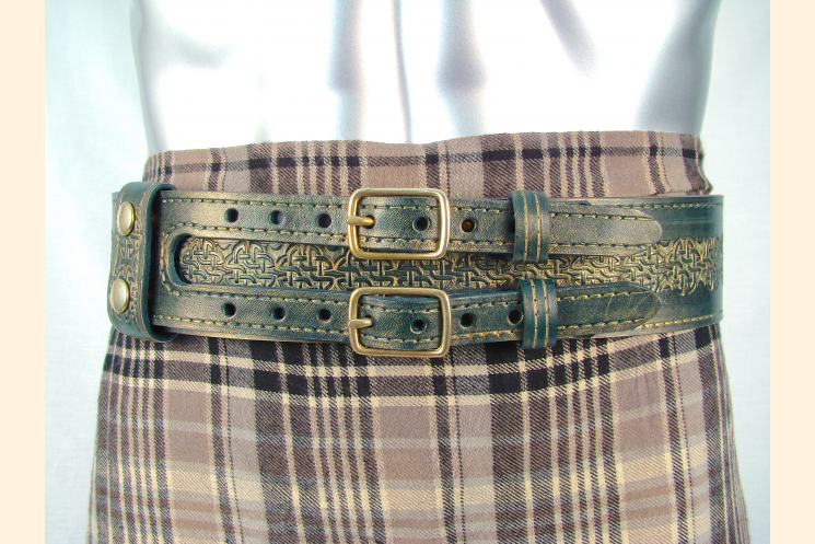 Kilt Belt Green Leather Double Buckle Kilt View