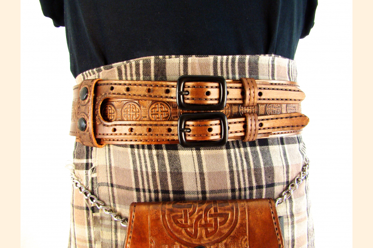 Kilt Belt Double Buckle Copper with Circle Celtic Knot Kilt View
