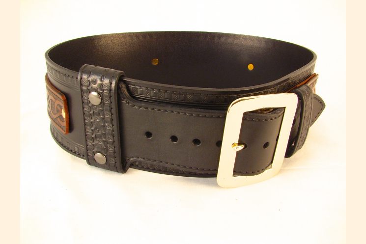 Kilt Belt Double Layer Leather Belt with Brass Buckle Left Side View
