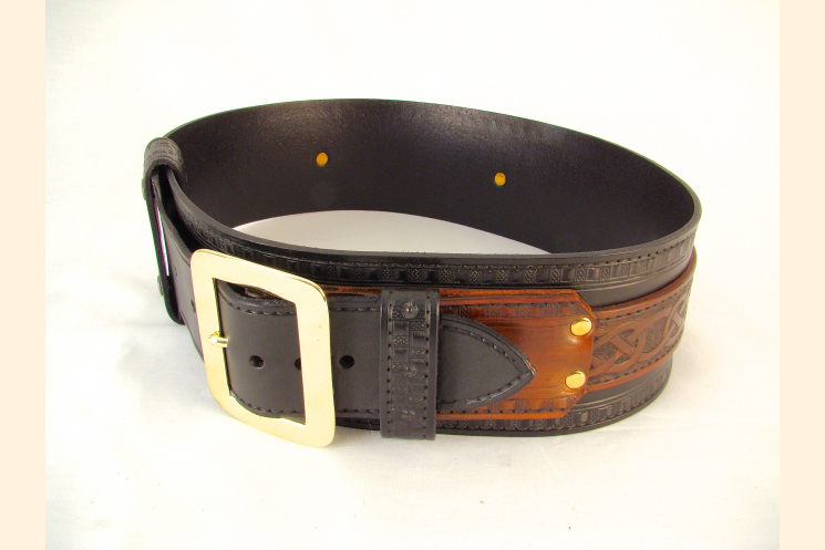 Kilt Belt Double Layer Leather Belt with Brass Buckle Right Side View