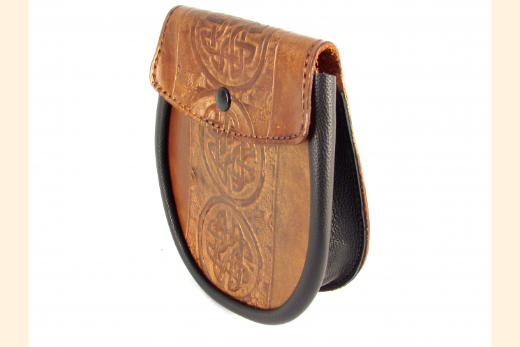 Sporran Copper with Circle Celtic Knot Front View Right Side View