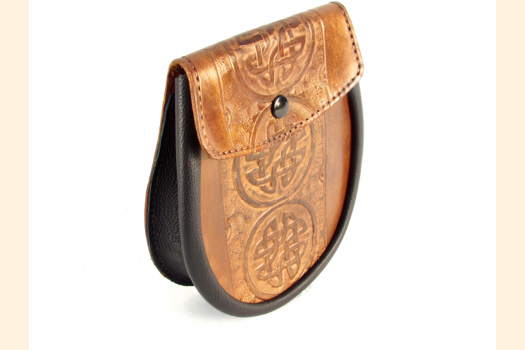 Sporran Copper with Circle Celtic Knot Left Side View
