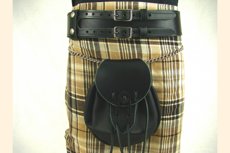 Kilt Belt Double Buckle Standard Black