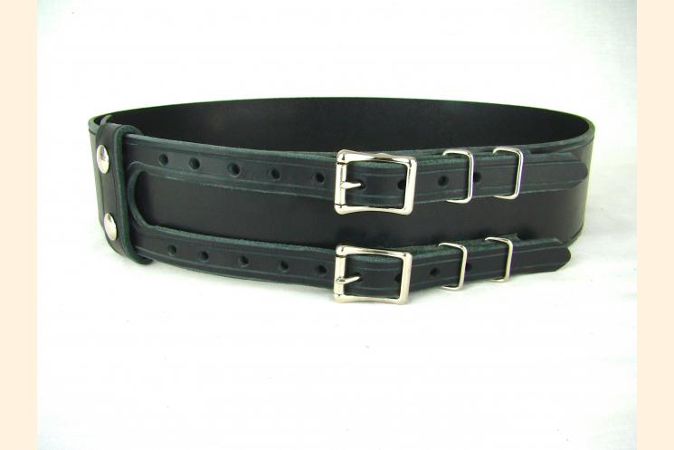 Kilt Belt Double Buckle Belt Black Leather Belt Basic Double Buckle Kilt Belt