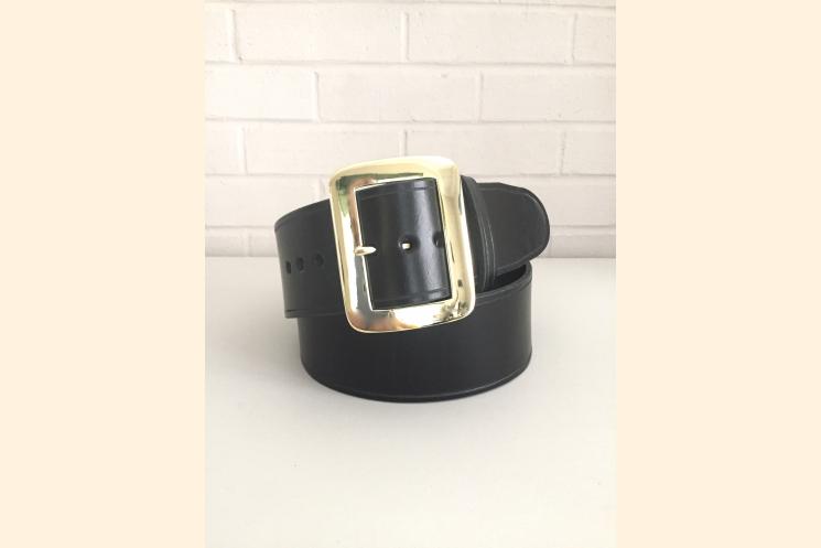 Santa Belt Pirate Belt Kilt Belt Black Leather Belt with Brass Buckle Front View