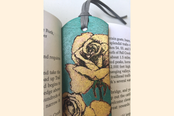 Yellow Rose Blossom Leather Bookmark