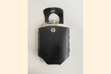 Black Hip Flask Holder for Belt with Nickel Snap Closure