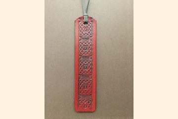 Celtic Bookmark - Red Leather