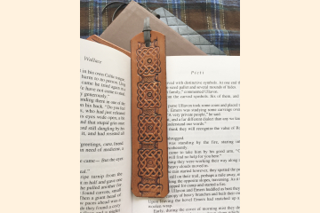 Celtic Bookmark - Yellow Gold Leather
