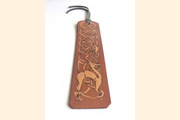 Celtic Bookmark with Deer, Leather, Brown and Gold