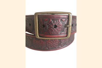 Red Leather Belt, Celtic Knot, Antique Brass Buckle, 1.25 inch wide