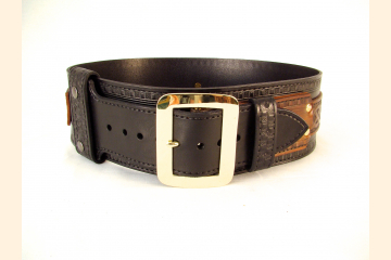 Kilt Belt Double Layer Leather Belt with Brass Buckle Front View