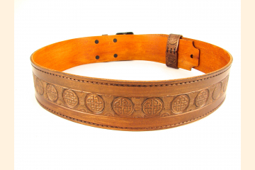 Kilt Belt Double Buckle Copper with Circle Celtic Knot Back View