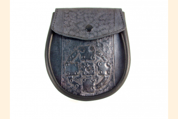 Sporran Leather Blue Gray Celtic Stone Cross Tooled Sporran