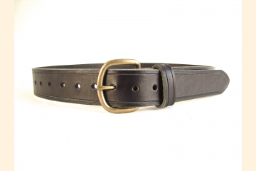 Belt Black Belt Leather Belt 1 /4 inch Antique Brass Buckle Belt