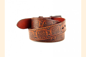 Belt Leather Brown Celtic Knot Belt 1 1/2 inch Stainless Steel Buckle