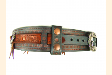 Kilt Belt Celtic Western Leather Kilt Belt Double Layer Kilt Belt Teal and Coppe