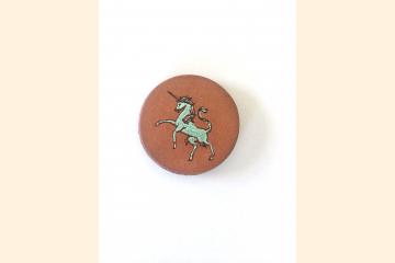 Scottish Unicorn Leather Magnet Round White Background