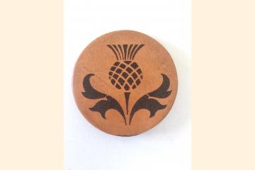 Scotland Thistle Leather Magnet Round