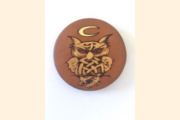 Celtic Owl Magnet Leather Magnet Front View