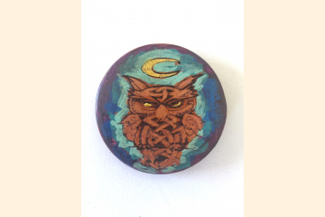 Celtic Owl Magnet with Blue and Purple Front View White Background