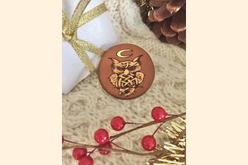 Celtic Owl Magnet with Holiday Arrangement