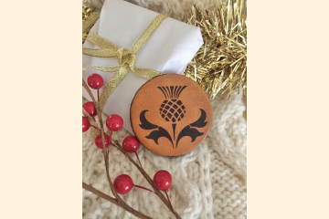 Scotland Thistle Leather Magnet with Holiday Decoration