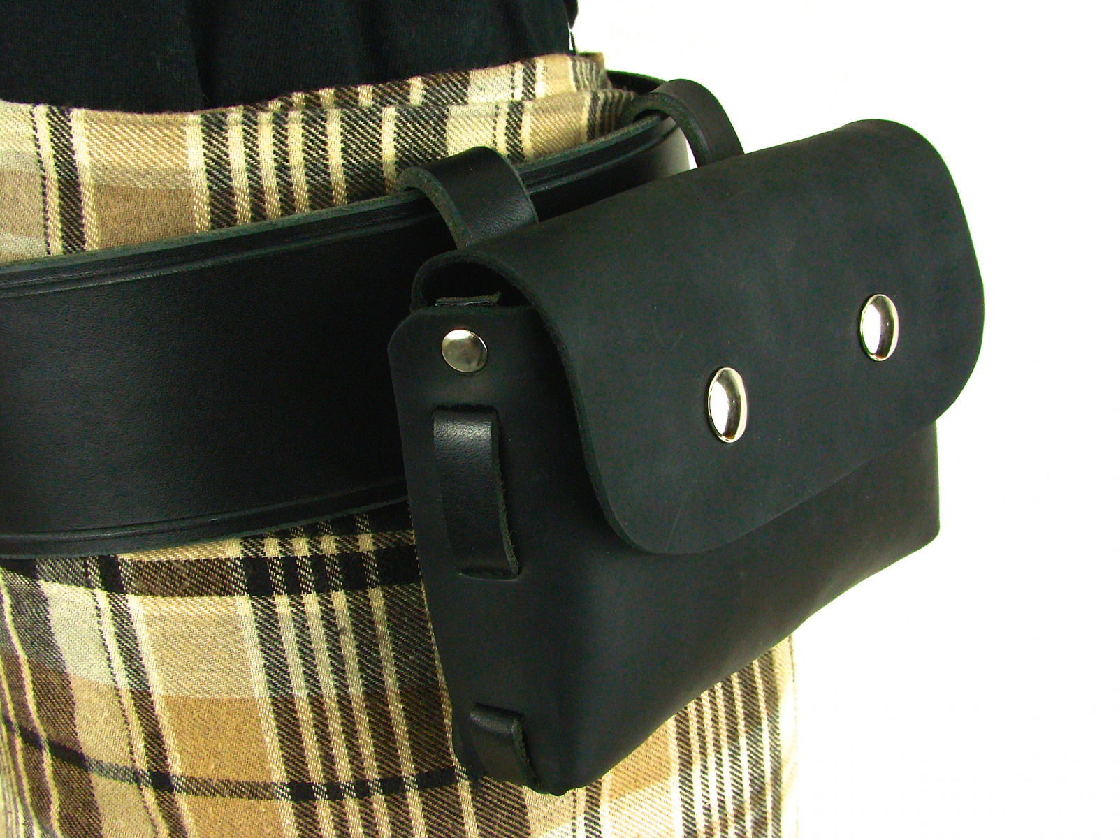 Black Leather Cell Phone Bag With Belt Loop Belt Pouch