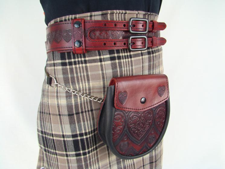 Double Buckle Kilt Belt With Red Sporran And Sporran Belt Holy Stunning Sporran Pattern