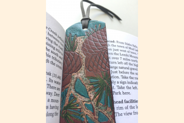 Pine Cone Bookmark, Leather Book Marker for Happy Camper, Hand Painted, Bookish Gift for Birthday
