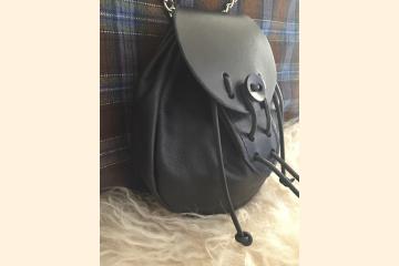 Rob Roy Sporran, Black Leather Kilt Pouch for Scottish Renaissance Festival, Wear with Mens Kilt or Cosplay Costume