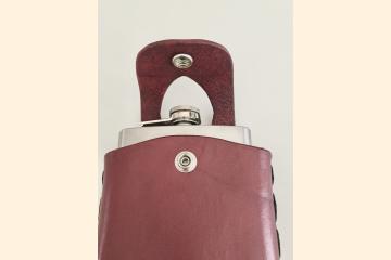 Red Leather Hip Flask Holder for Wide Leather Kilt Belt, Scottish Festival Gear for Whiskey Tasting, Birthday Gift for Whisky Men and Women,