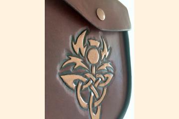 Sporran with Scottish Thistle, Leather Belt Bag for Mens Kilt, Celtic Festival Gear, 40th Birthday Gift for Man,