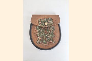 Leather Sporran, Greenman, Belt Pouch for Wide Kilt Belt, Pagan, Scottish Kilt Festival Gear, 30th Birthday Gift for Him,