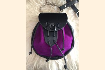 Sporran, Rob Roy, Purple Kilt Bag, Leather Belt Pouch, For Scottish Kilts and Renaissance Costumes,