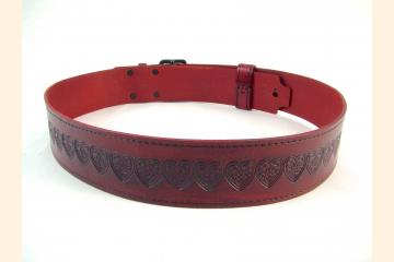 Kilt Belt Double Buckle Red Celtic Heart Knot Belt